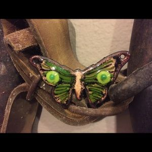 Green and copper butterfly pendant